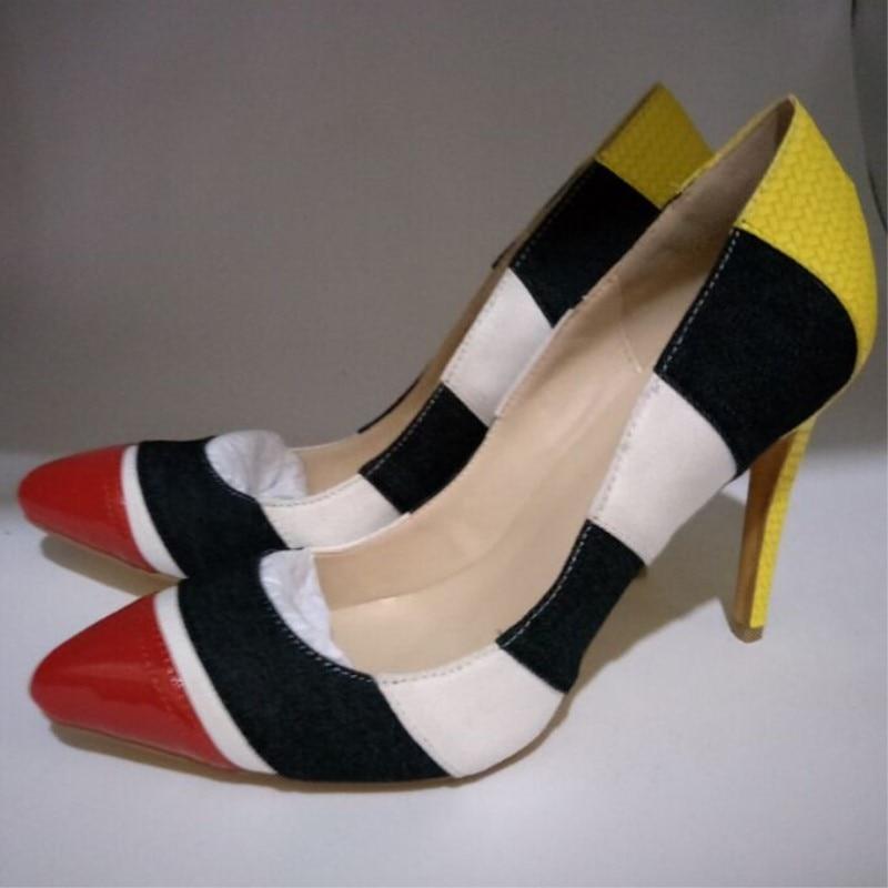 Talons Gratuite 45 Taille Nouveauté Shofoo Belle Hauts Livraison À Pompes Couture Bout Couleur Chaussures 11 Cm Tissu Multi 34 Pointu fwpxw7
