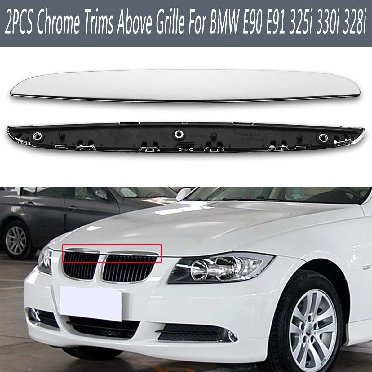 2pcs ABS Hood R & L Chrome Trims Above Kidney Grille for BMW E90 E91 325i 330i 328i Strips Molding Exterior Parts