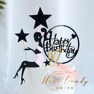 """Image 2 - Elegante Dame Schnurrbart Top Hut Bogen knoten Laser """"Happy Birthday"""" Kuchen Topper für Party Dekoration Dessert schöne geschenke"""