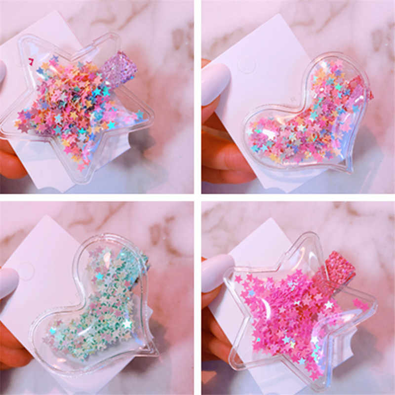 Sale 1PC Plastic Candy Color Shining Kids Hair Clips Star Transparent Heart Star Children Hairpins Baby Barrette