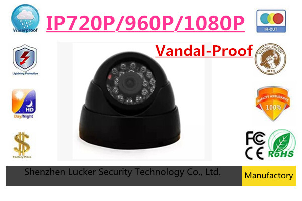 bilder für Luckertech 720 P/960 P/1080 P 1,0/1,3/2,0 Mega Pixel 24 STÜCKE IR Leds ONVIF Indoor IR-CUT-NACHTSICHT P2P IP Dome POE Audio Kamera
