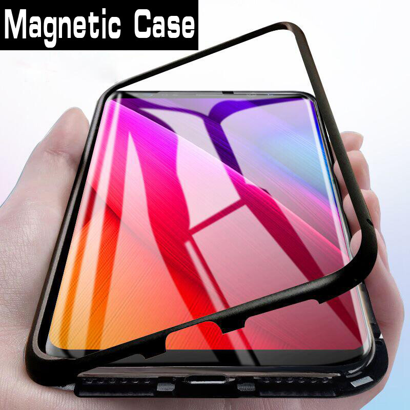 Magnetic Adsorption Metal <font><b>Case</b></font> for <font><b>Oneplus</b></font> 7 Pro <font><b>Case</b></font> Tempered Glass Back <font><b>Case</b></font> for <font><b>Oneplus</b></font> 7 6T <font><b>6</b></font> 5 T Phone Cover Shell Coque image