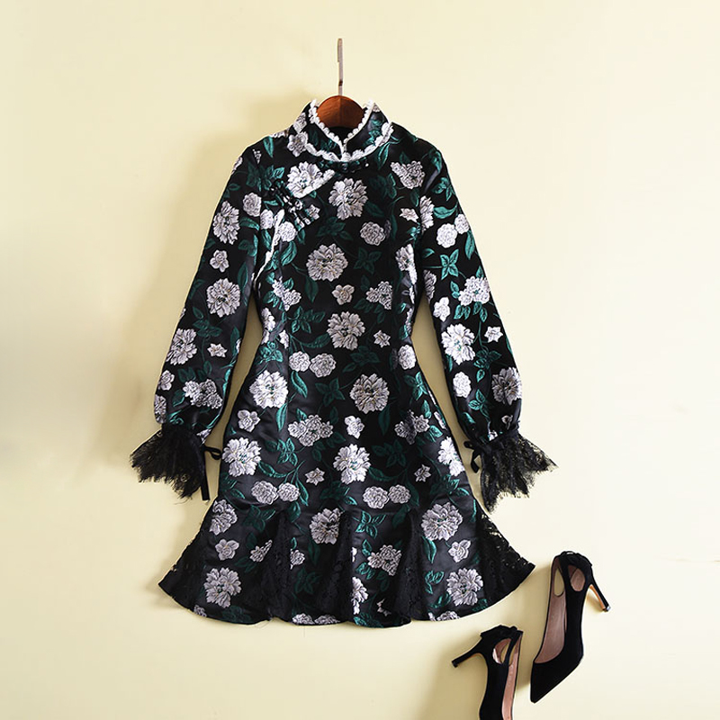 HIGH QUALITY Newest 2017 Designer Runway Dress Women S Long Sleeve Art Floral Printed Mid Calf