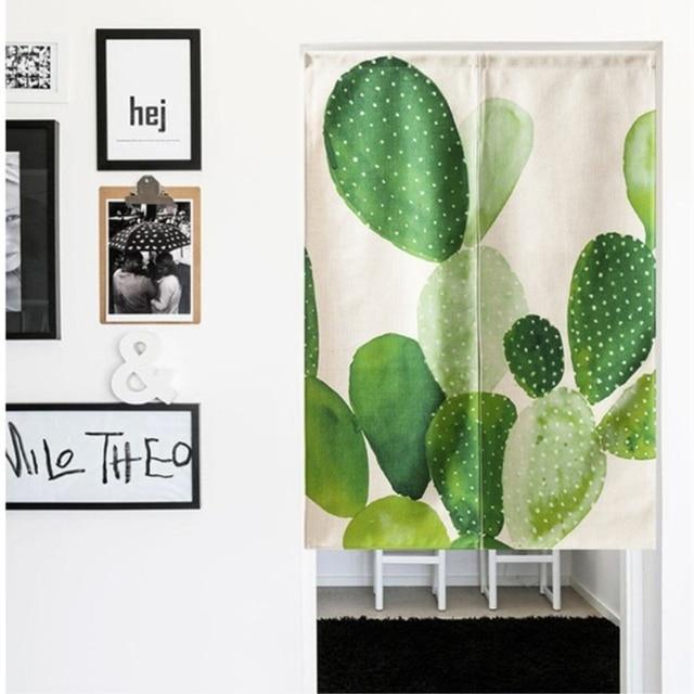 linen cotton american style tropical cactus door curtain kitchen