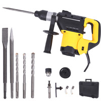 1800W Rotary Hammer With 3 Drill Bits 2 Flat Chisel Pointed Chisel Drill Bit Drilling Chiseling