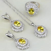 925 Sterling Silver Jewelry Yellow Cubic Zirconia White Crystal Jewelry Sets For Women Wedding Earring Pendant