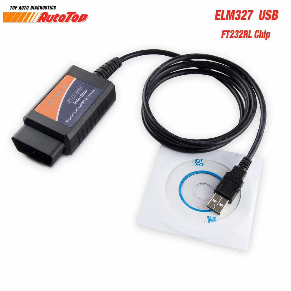 Beste ELM327 FTDI FT232RL ODB 2 ULME 327 USB V1.5 OBD2 Scanner EML 327 Autoscanner mit ODB2 Funktionen Diagnose Scanner für Auto
