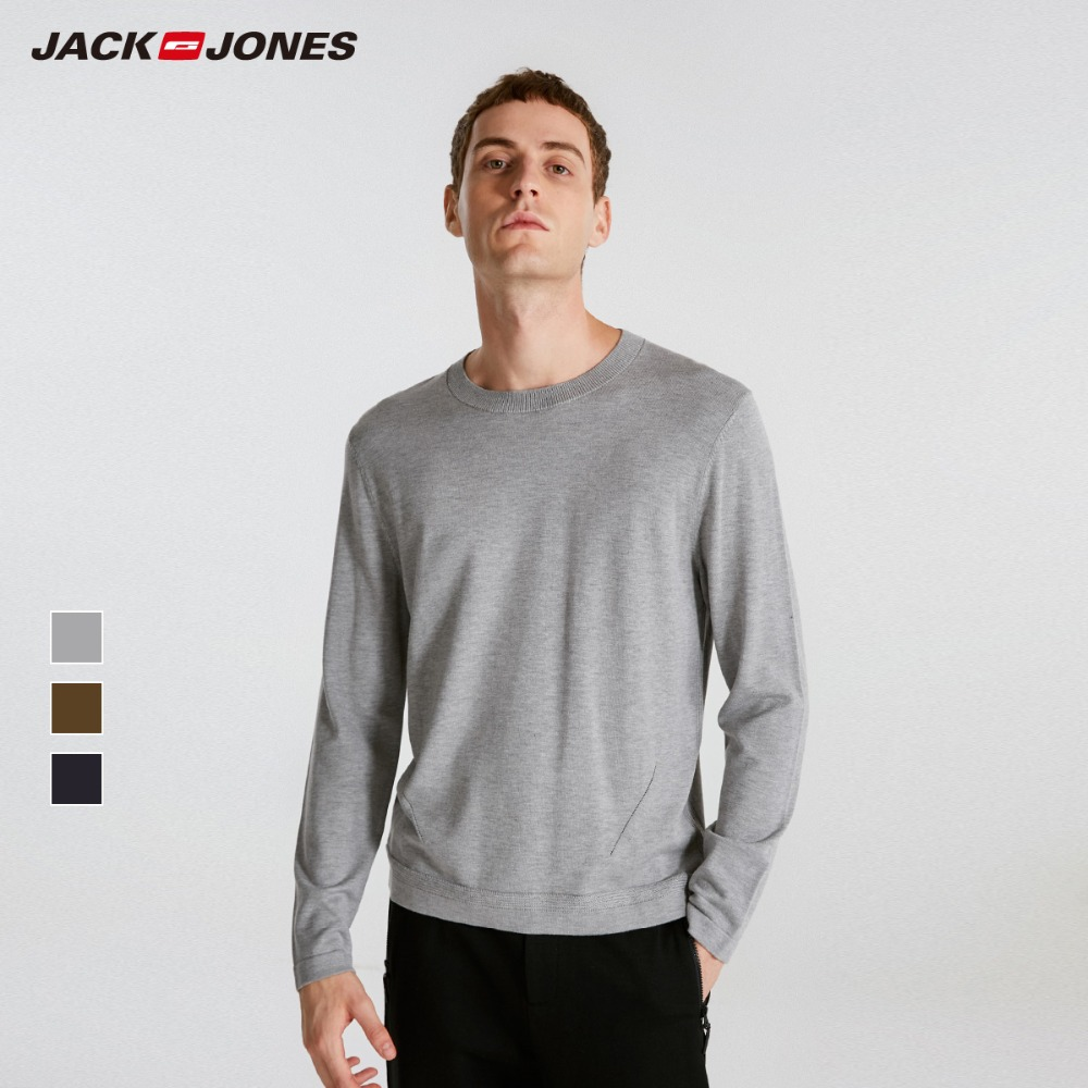 JackJones для мужчин's однотонная одежда Regular Fit Lyocell blend трикотажная Базовая рубашка шерстяной пуловер мужчин swear Pull Homme Топ C | 218324502