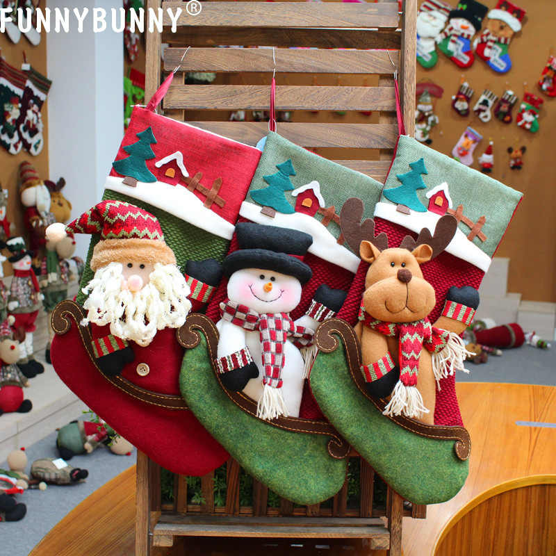 FUNNYBUNNY Christmas Stockings Hanging in Xmas Tree Home Restaurant Hotel Decorations and Party Supplies Burlap Stuffed Toys