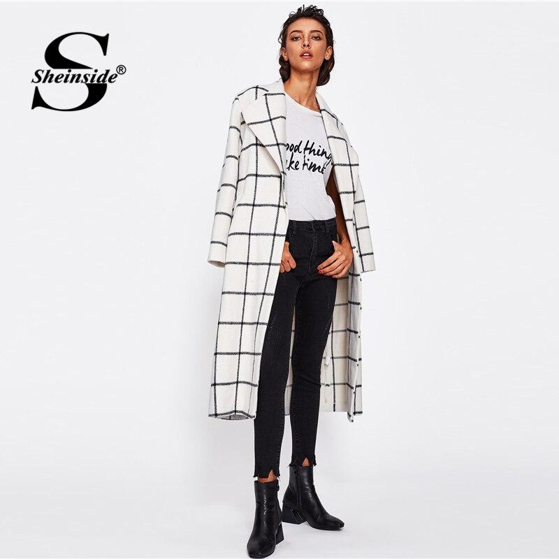 Sheinside Xadrez Turn-down Collar Oversized Workwear Casaco Longo Inverno 2018 Mulheres Bolso Senhoras Outono Elegante Outerwear