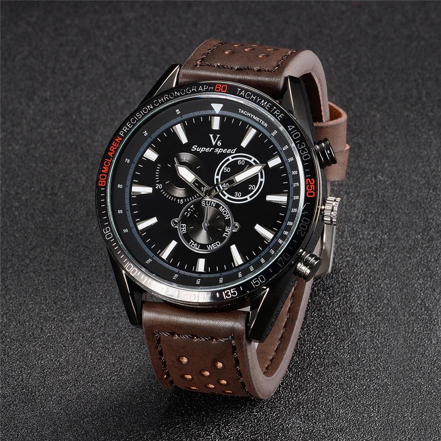 Prix pour De haute qualité V6 Montre Hommes D'affaires Loisirs Quartz-Montre Mens Montres Haut Marque Sport Montre-Bracelet En Cuir Mâle Relogio Masculino