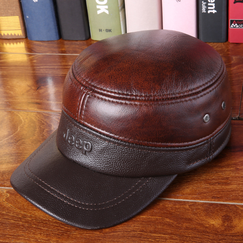 3a84705d4a4 2018 Spring Man Genuine Leather Baseball Caps Male Casual Cowhide Hat  Earmuffs Warm Adjustable Hats 3 Colors B-7252