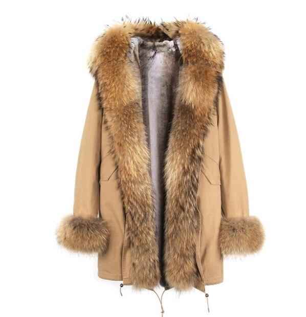 Американский стиль Горячая Распродажа Женская мода Большой настоящий Енот с капюшоном и джинсы с отворотами плюс размер толстые длинные пальто куртки верхняя одежда бренд - Цвет: C8