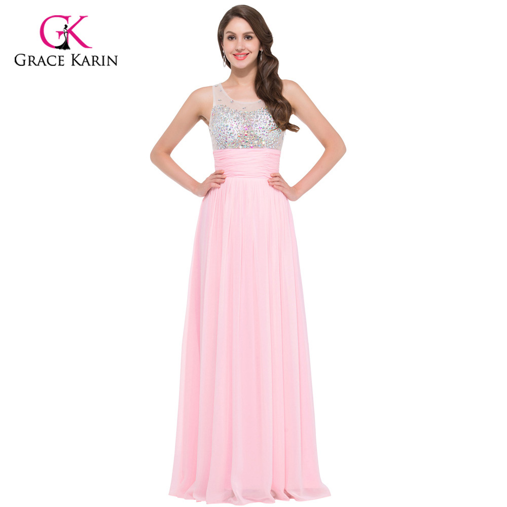 Women Pretty Long Evening Dresses 2018 Grace Karin Pink Blue Green Chiffon  Sexy See Though Formal Gowns Special Occasion Dress c01037a374ca