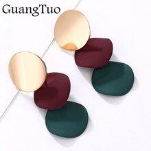 Brincos redondos elegantes originais, joias femininas com declaração de liga geométrica, brincos para presente de moda em 3 cores