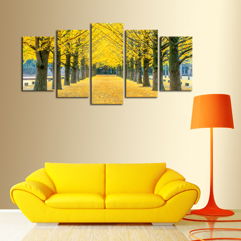 5 Panels (No Frame)Yellow Leaves Trees Landscape Canvas Wall Art ...