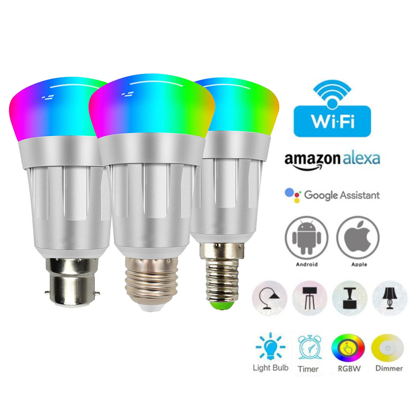 2019 7W E27/B22/E14  RGBW Led Light WIFI Smart Bulb Lighting Bluetooth Lamp Color Change Dimmable For Home For Alexa Google Home