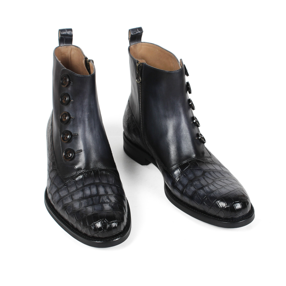 Oficina Vikeduo Suela Los De Cuadros Negro Moda Hombres Zapato Boda Vaca Genuino Blake Cuero Nueva Cocodrilo Medida Black Botas 2019 A Goma AwqgAr4H