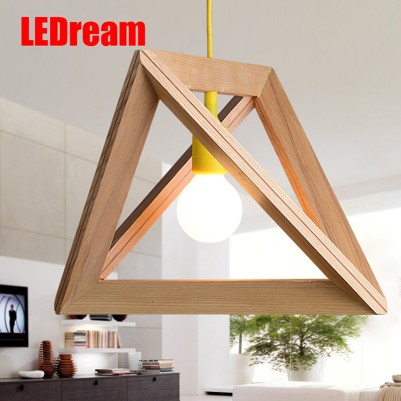 Фотография Triangle geometric modelling oak wood lamp box wooden American droplight restaurant cafe personality real wood bar lamp