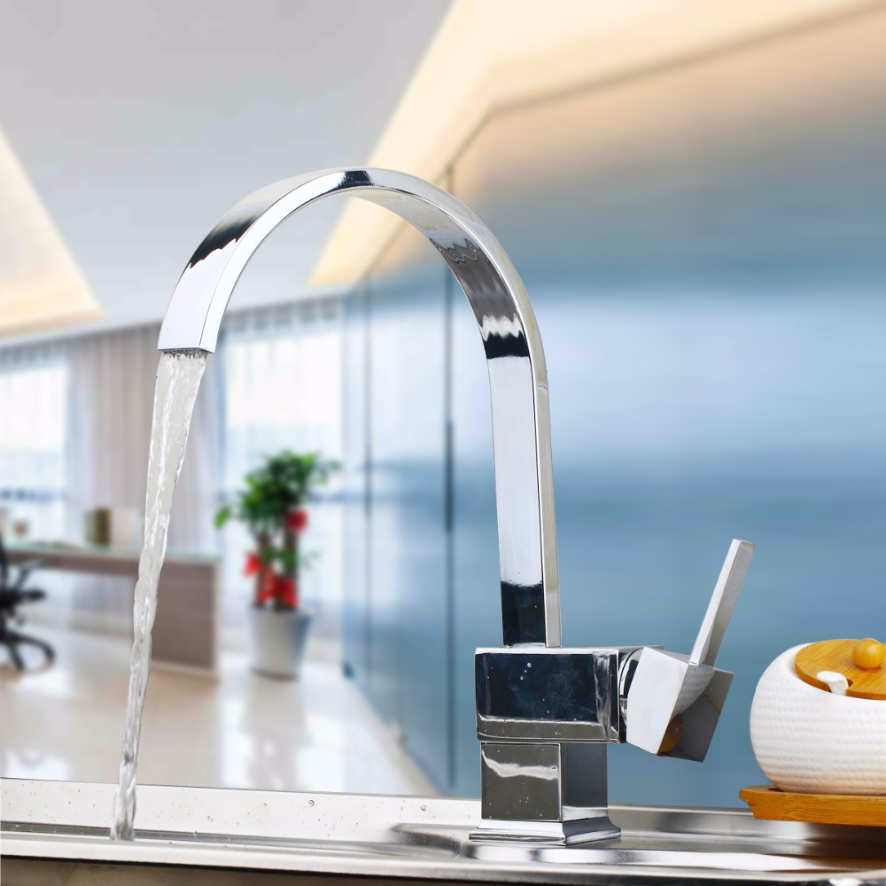 De Only Free Shipping New design faucet chrome silver swivel kitchen sink Mixer tap kitchen faucet