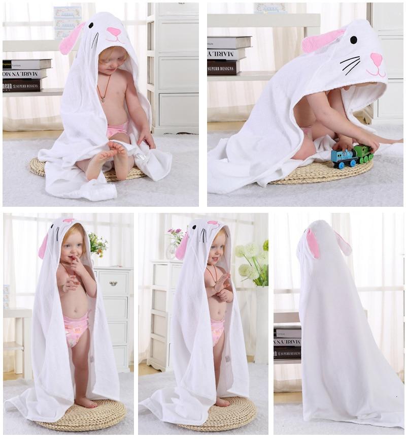 Детское махровое полотенце с капюшоном и изображением животных, халат с изображением животных для малышей, синий От 0 до 6 лет - Цвет: White Cat