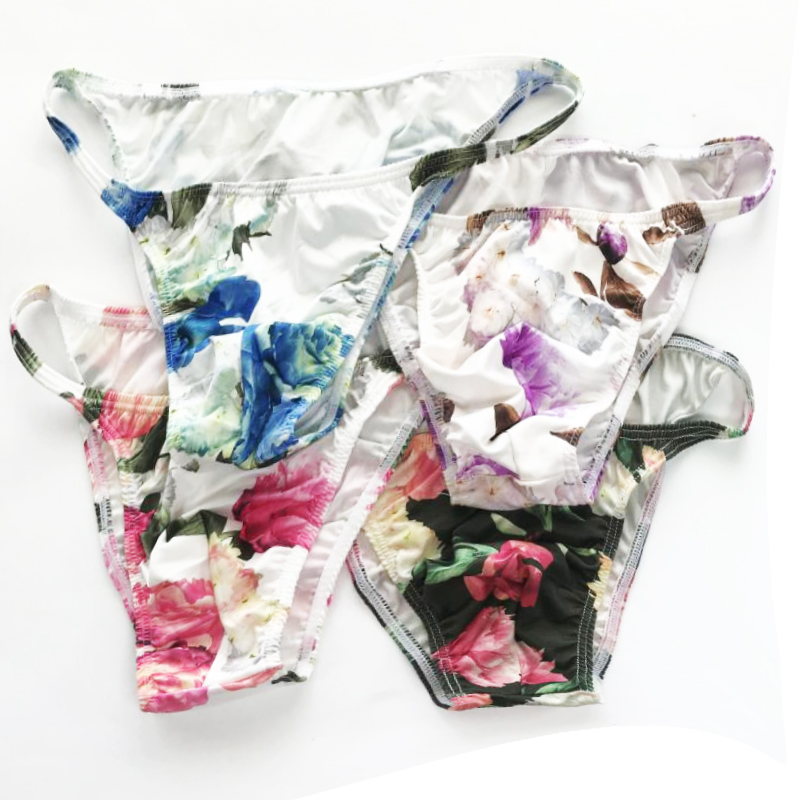 <font><b>Mens</b></font> <font><b>Sexy</b></font> Floral Milk silk Floral Sissy <font><b>Underwear</b></font> Pouch Low Rise Lingerie Briefs <font><b>Underwear</b></font> <font><b>Erotic</b></font> Gay <font><b>Mens</b></font> Lingerie UnderPants image