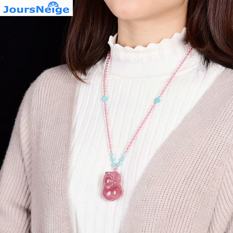 Wholesale Pink Natural Crystal Pendant Hand Carved PiXiu Pendant DIY Sweater Chain Necklace Lucky for Women Crystal Jewelry tanqu diamond shaped variable handle for obag long adjustable handles with drop buckle for o bag for eva bag body