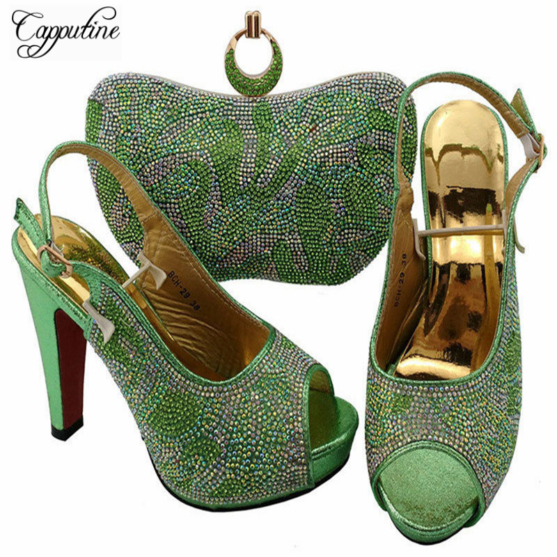 Capputine Italian Design Woman Shoes With Matching Bags Latest African Rhinestone High Heels Shoes And Bags Set For Sale BCH-29 free shipping newest shoes matching bags royal blue italian designer shoes and bags ct16 06