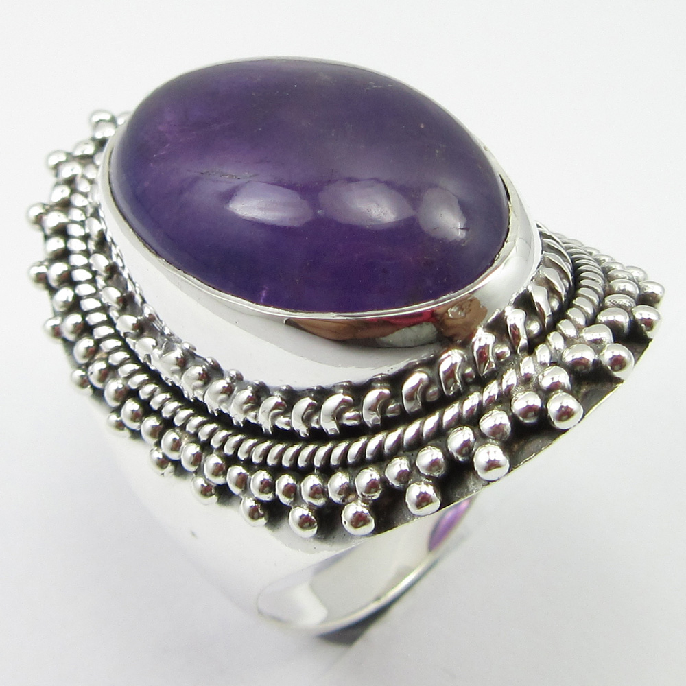 Discount Jewelry Amethysts Ancient Style Ring Size 8.75 Silver Unique Designed