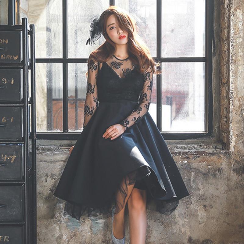 feb73719935fe Women sexy Black Lace Dresses Europe Vintage formal dress High-grade Plus  size dress suit for 100 KG girls 2018 autumn winter