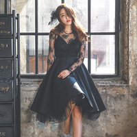Women sexy Black Lace Dresses Europe Vintage formal dress High grade Plus size dress suit for 100 KG girls 2018 autumn winter