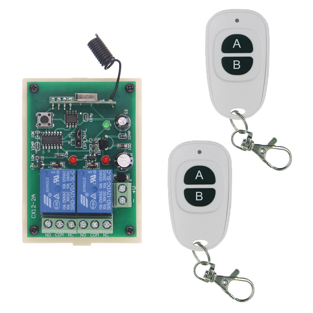 315 433 MHz Universal Wireless Remote Control Switch DC 12V 24V 2CH 2 CH Relay Receiver Module RF Remote Transmitter high quality 12v 24v 2ch rf wireless remote control lighting switch receiver with 2ch relay for smart home 315mhz 433 92mhz