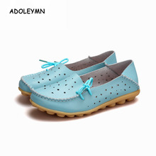 2018 New Arrival Genuine Leather Shoes Woman Women Shoes Flats Loafers Slip On Women's Flat Shoes Moccasins Ballet Shoe Plus