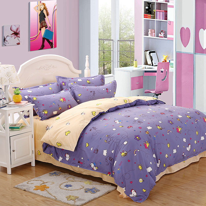 4 Pieces / Set 3D Bedding Suite Large Cartoon Purple Small Bee Printing Pattern Quilt + Bed + Pillowcase Multi-Size Optional