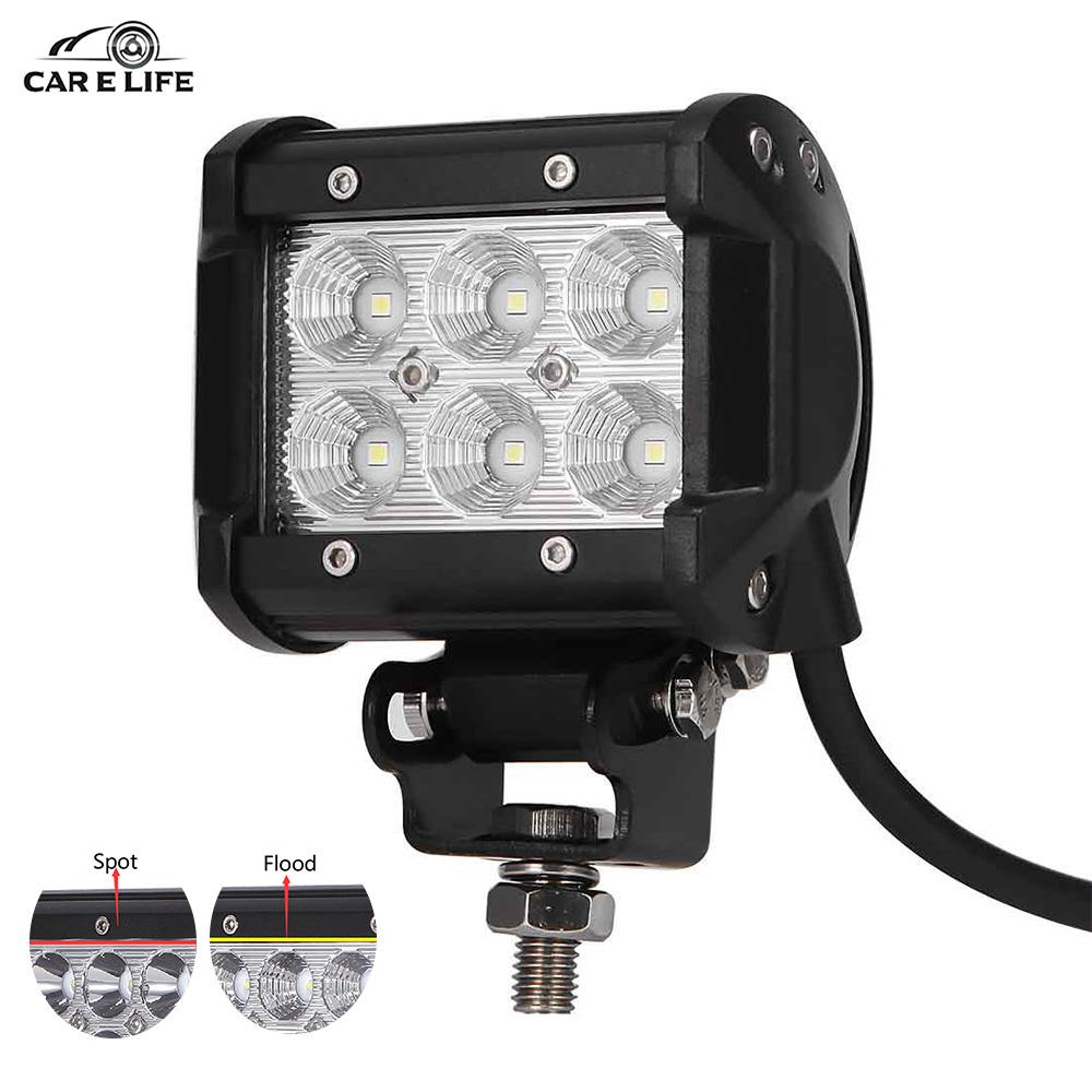 Prix pour 1 Pc De Voiture LED Light Work Offroad Lumières 18 W 6500 K Led puces Flood & Spot Conduite Lampe Sportlight pour 12 v 24 v Véhicule SUV ATV