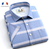 Langmeng 2016 Striped Men Dress Shirts Short Sleeve Casual Shirts Luxury High Quality China Imported Men
