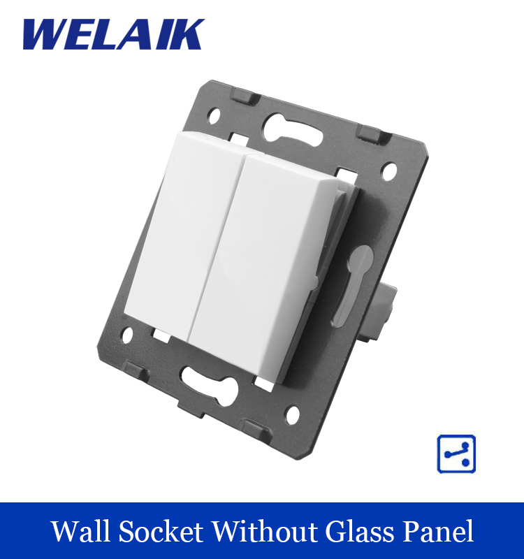все цены на  WELAIK Push Button 2Gang2Way Switch DIY Parts Manufacturer of Wall Light Switch White Crystal Glass Panel AC 110-250V A722  в интернете