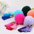 Free shipping 2015 Bag Accessories Tassel Round  Fur Colorful Key Chain Fashion Women Key Hoder  Line