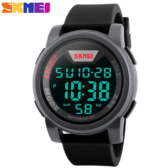 SKMEI Moda Casual Sports Relógios Homens LED Relógio Digital 12/24 Horas Homem À Prova D' Água Silicone strap Watch Relogio masculino 1218