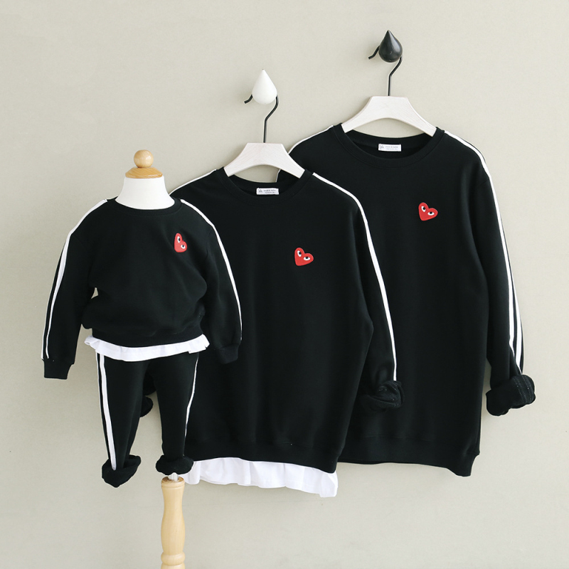 [Baby Suit] Family clothing sweatershirts family look matching clothes mom and daughter dad son hoodies solid cotton set pants цена 2017