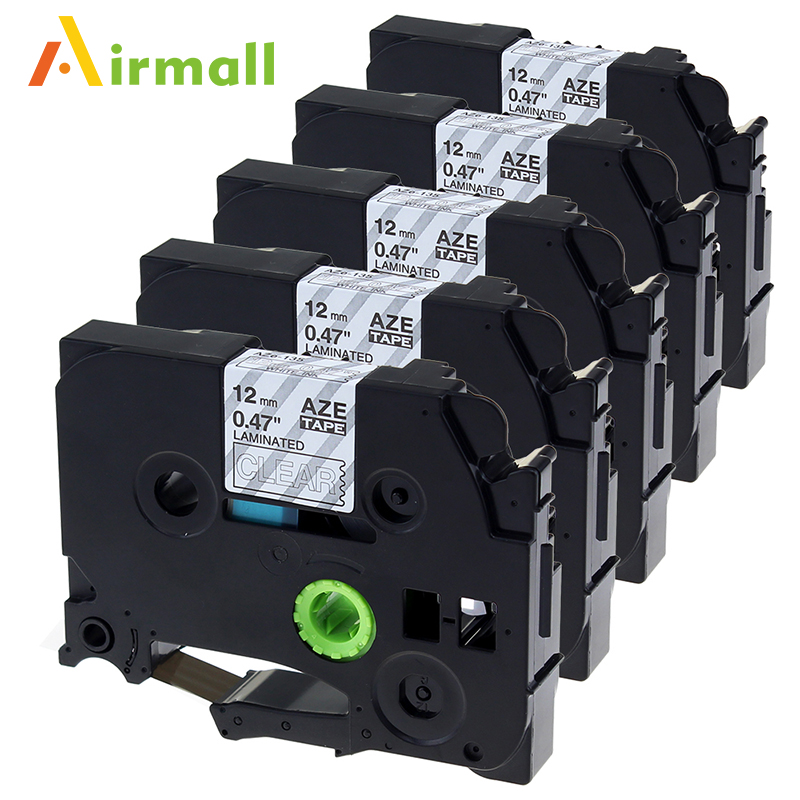 Airmall 5 Pake Compatible Brother P-Touch label printer 12mm TZ135 TZ-135 TZe-135 tze tape 135 White on Clear Label Maker Ribbon