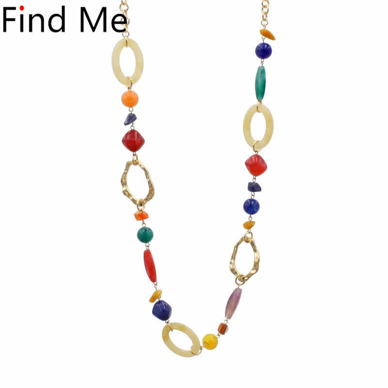 Find Me 2019 new multilayer acrylic long chain collar choker necklace vintage bead statement necklace women Jewelry wholesale