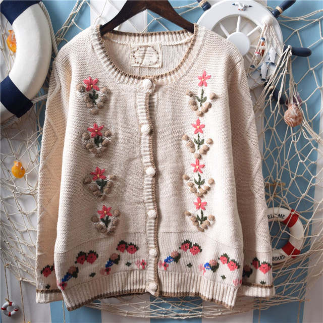 976c9fbf7373a US $23.99 |Vintage Forest Mori Girl Manual Hook Flower Embroidery Jacquard  Knit Cardigan Sweet Lolita Sweater Coat Women Tops Autumn Winter-in ...