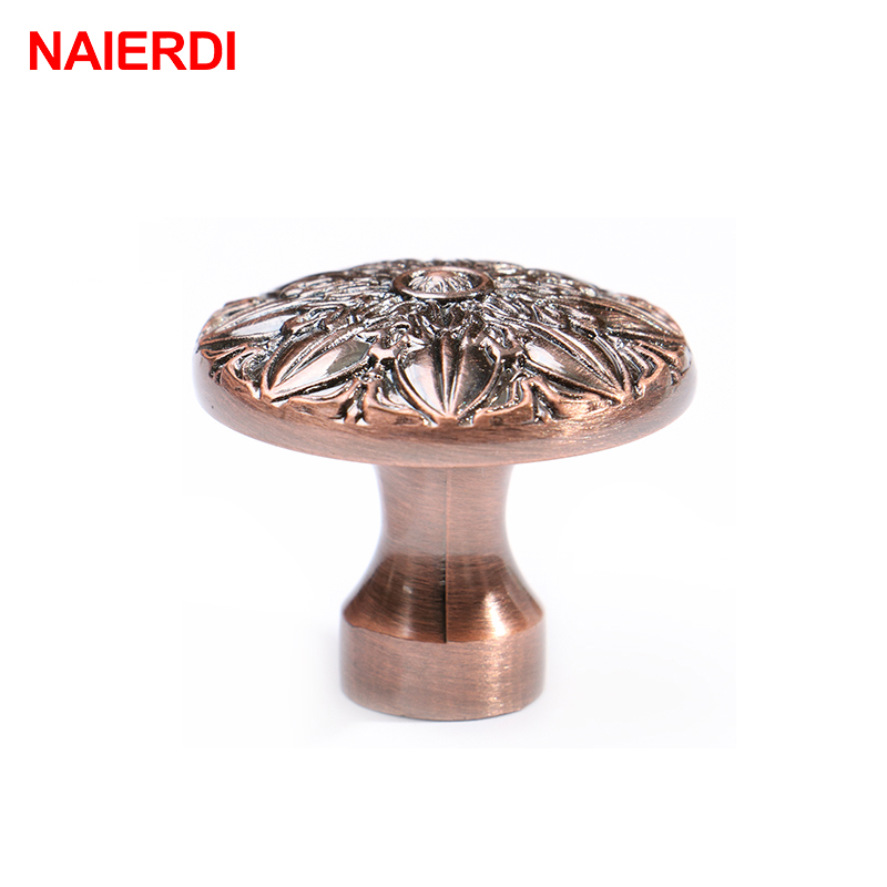 5PCS NAIERDI Retro Cabinet Knobs Red Bronze Kitchen Door Zinc Alloy Handles Wardrobe Furniture Handle Drawer Pulls Hardware
