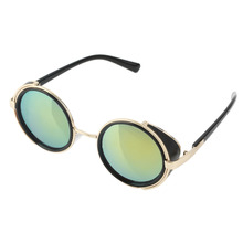 71f804eaa6 Gothic Steampunk Sunglasses Men Women Metal Wrap Eyeglasses Round Shades  Brand Designer Sun Glasses Mirror High
