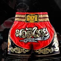 Rojo Negro Sanda Pantalones Cortos de Boxeo Artes Marciales MMA Lucha Trunks Pantalones Para Hombre Visto Pretorian Muay Thai Pantalones Cortos Trunks