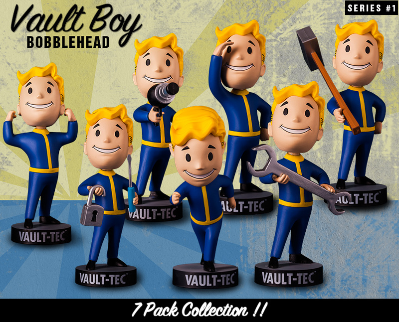 Original Gaming Heads Fallout 4 Vault Boy Bobbleheads Series 1 PVC Action Figure Kids Toy Christmas Gifts stuffed toy