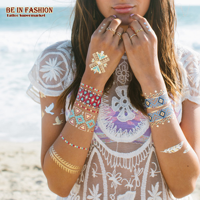flash temporal etiqueta engomada del tatuaje mujeres fake henna color azul oro plata rosa joya mariposa