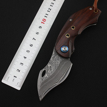 Toucan Damascus Blade Steel Wood Keychain Pocket Folding Knife Utility Tactical Survival Portable Knife Mini Collection EDC Tool