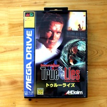 True Lies 16 Bit MD Game Card with Retail Box for Sega MegaDrive & Genesis Video Game console system